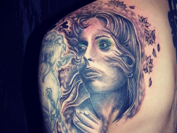 Female Figure Shoulder Tattoo