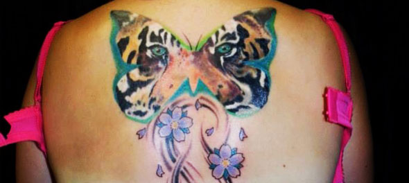 Tiger Butterfly Tattoo Artwork